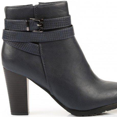 Ideal Shoes - Bottines à talon épais avec ceinturons effet reptile Julya Marine