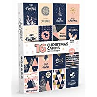 16 x Christmas Cards by Joy MastersTM Vol.2 | Boxed Multipack with ENVELOPES | Modern Designs - Large Set for Men & Woman