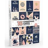 Joy Masters - 16 Tarjetas Navideñas | Caja de Christmas Surtidos con SOBRES | Diseños Modernos - Gran Combo para Hombres y Mujeres - Vol. 2