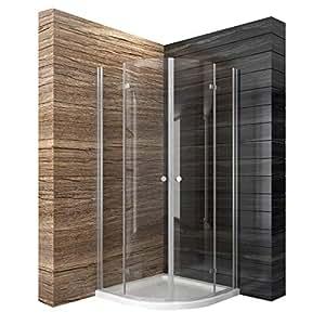 faltt r duschkabine runddusche 90x90cm eckeinstieg duschabtrennung esg glas viertelkreis amazon. Black Bedroom Furniture Sets. Home Design Ideas