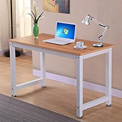 Popamazing Modern Brown Wood Computer Desk Home Office Metal Frame Laptop Table PC Workstation