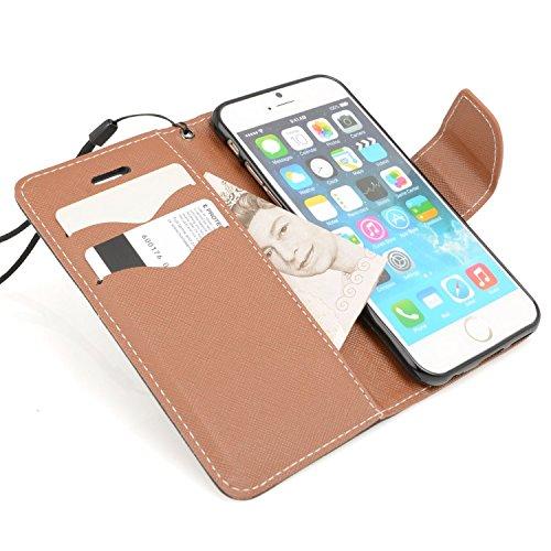 Madcase Apple iPhone SE / 5S / 5 Schutzhülle Ledertasche mit Kartenfach Premium Design Case Tasche Portemonnaie PU Leder Hülle - Orange Italienisches Design - Schwarz & Braun