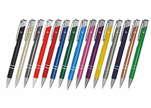 Creativgravur 15 Metall-Kugelschreiber-Set Magic, Blaue Großraummine, Farbe:C-01 (schwarz)
