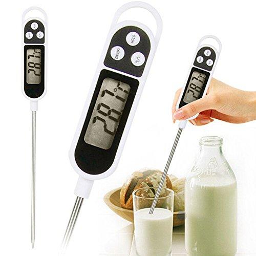 Termometro da cucina con display LCD digitale con sonda in acciaio INOX per cibi, bevande , bbq ecc... - Misura gradi Celsius e Fahrenheit : min -50°C max 300°C