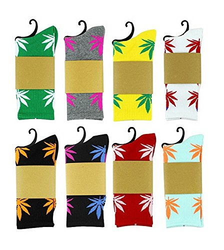 Zando Marijuana foglia di marijuana stampato cotone calze lunghe 5 Pack-Randomly Choose Taglia unica