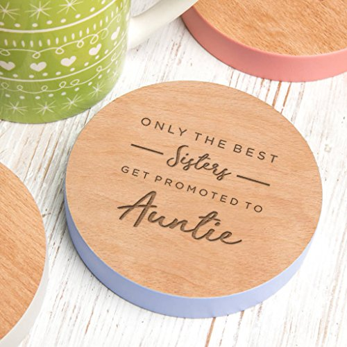 Only The Best Sisters Get Promoted To Auntie Wooden Gift Coaster - New Auntie Gifts From Niece - Auntie Gifts From Baby - Best Auntie Gifts From Nephew