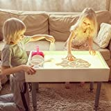 Activity table for baby + Sensory table + Light Table + Sand box. Multifunctional tool for learning shapes, colors. Table Includes cover, color controller, sand and trowel, legs with adjustable height