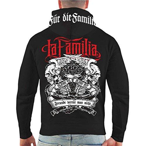 Männer und Herren Kapuzenpullover Viva La Familia (mit Rückendruck) Größe S - 8XL schwarz/rote Kapuze