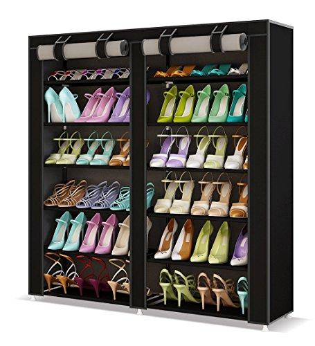 UDEAR Shoes rack organizador de tela de zapatos, Zapatero 7 pisos con resistente al polvo Negro