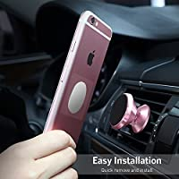 Functer Magnetic Car Phone Mount - Universal Aluminum Car Phone Mount Holder for Air Vent with Two Plates for Cellphone like iPhone X/8/8 Plus/7/7 Plus/6S/6S Plus and Android Smartphones (Rose Gold)