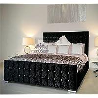 0a7da3826782c Cubed Upholstered Crushed Velvet Double  Kingsize Bed Frame in  Silver