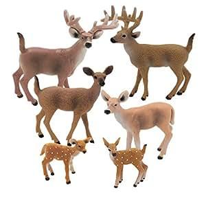 Happy Cherry - Set de 6 Figurines d'Animaux Sauvages - Famille de Cerfs à queue blanche - Jouet pour enfants