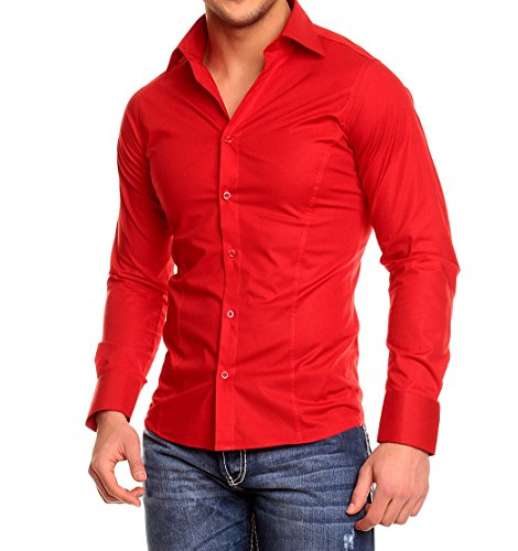 Chemise manches longues unie homme Coupe slim fit Business Rouge