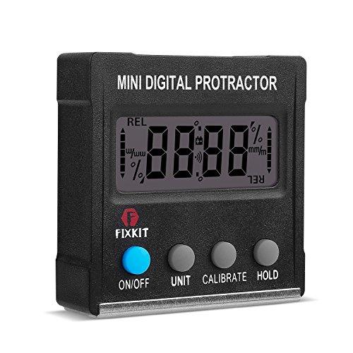 FIXKIT Mini Digitaler Winkelmesser Neigungsmesser Gefällsmesser Wasserwaage mit Magnetfuß