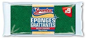 Spontex  Eponges Combinés Grattantes  9 Eponges Grattantes Stop Graisse