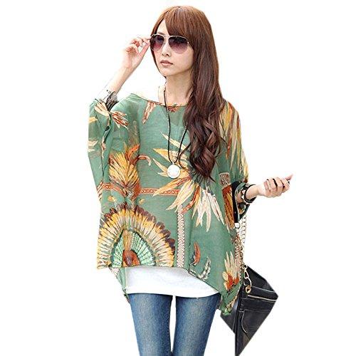 Zeagoo Bohemian Boho Hippie Damen Chiffon Schulterfrei Batwing Bluse Shirt Top Grün One Size (Top Hippie Shirt)
