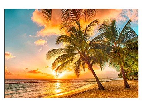 Palmenstrand Leinwandbilder auf Keilrahmen A05988 Wandbild Poster 150 x 100 cm