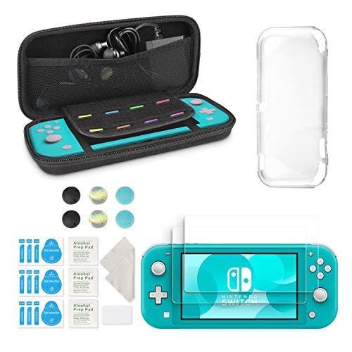 Le kit d'accessoires innoAura pour Nintendo Switch Lite comprend un étui de transport portable avec 8 cartouches de jeu, étui TPU transparent, 2 protecteurs d'écran HD pour accessoires Switch Lite