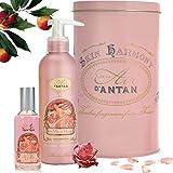 Französisches Beauty Geschenkbox Rose, Un Air d'Antan Parfum Rose, Pfirsich, Patschuli, Enthält 1 Bodylotion Intensiv Pflegend, Reichhaltige Creme 200ml, 1 Eau de Toilette 55 ml, Frauen Geschenkideen