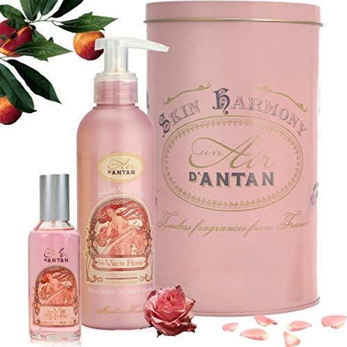 Un Air d'Antan Französisches Beauty Geschenkset Rose, Parfum Rose, Pfirsich, Patschuli, Enthält 1 Bodylotion 200ml, 1 Eau de Toilette 55 ml, Geschenk für Geburtstag, Frauen