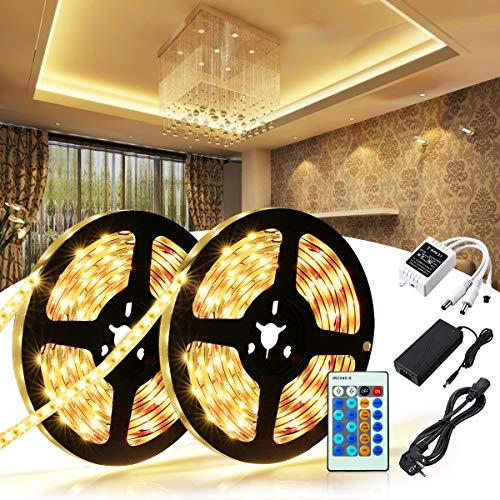 LED Streifen Warmweiss   LED Strip 10M   SOLMORE 600 LEDs 2x 5m LED Bänder Kit mit 24-Tasten IR Fernbedienung und 12V Netzteil   SMD 2835 LED 3000K   Innenbeleuchtung für Küche, Deko, PC-Monitor