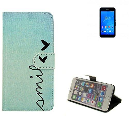 360° Wallet Case Schutz Hülle für Sony Xperia E4G, ''smile'' | Smarpthone Flip cover Flipstyle Tasche - K-S-Trade (TM)