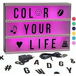 Gadgy ® Cinema LightBox Changement Couleur A4 avec Adaptateur | Special Vintage Boite Cinematographique | Enseigne Lumineuse LED | 85 Lettres Symbolos Emoji Chiffres
