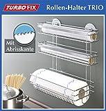 Wenko 3 in1 Küchenrollenhalter Turbo Fix, Wandrollenhalter Folienabroller mit Abrisskante, Befestigen ohne bohren, verchromtes Metall, ca.32,5 x 34 x 15 cm, Silber glänzend