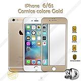 PELLICOLA VETRO TEMPERATO 3D APPLE IPHONE 6 6S CON CORNICE FULL PROTECTION COLORE GOLD ORO