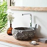 wohnfreuden Marmor Naturstein Aufsatz-Waschbecken 30 cm Natur grau Gäste WC