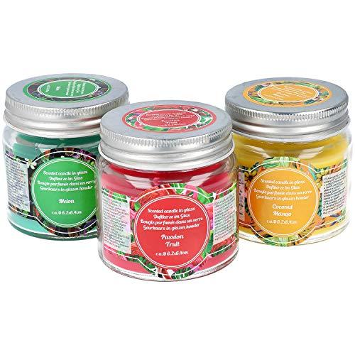 com-four® 3-teiliges Duftkerzen-Set in verschiedenen Duftrichtungen, Deko Kerze im Glas (03-teilig - Duftkerzen) -