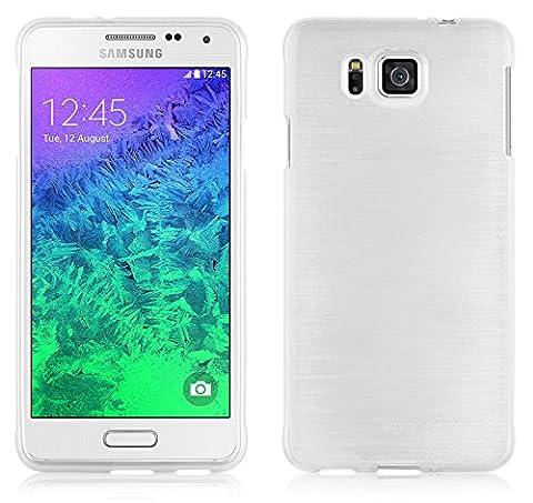 Cadorabo - Silikon TPU Schutzhülle für Samsung Galaxy ALPHA (G850F) Hülle Case Cover in Edelstahl-Optik gebürstet (brushed) in SILBER
