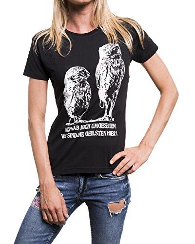 Maglietta donna - T-shirt con un detto tedesco - Mi guardai intorno, noi siamo la più bella qui Nero