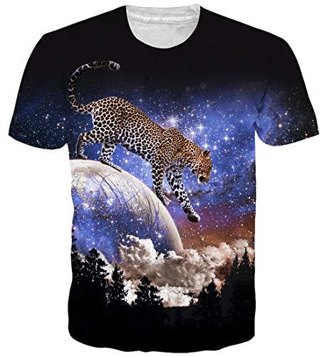 Goodstoworld 3D Leopard Galaxy Print T Shirt Herren Damen Sommer Lustige Beiläufige Kurzarm Aufdruck T-Shirts Tee Top XXL