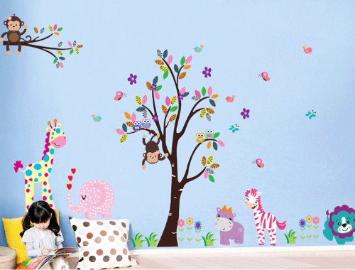 Rainbow Fox® Dschungel Wald Zoo Animal World Spielen Affe auf Bäumen Wandtattoo-Aufkleber für Kindergarten (World Industries Aufkleber)