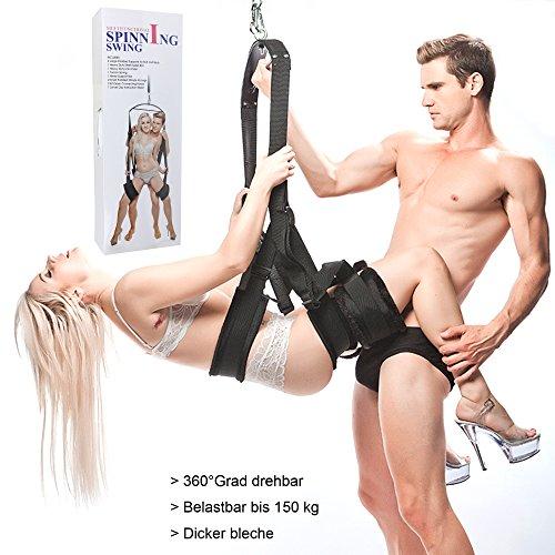 LUOOV Sex swings - extrem flauschige, robuste & bequeme für Paare mit extra breiten Polstern mit Spreizstange, Karabiner, Dübel und Spezialfeder