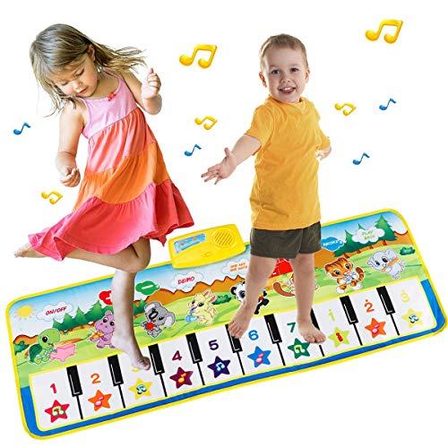 EXTSUD Piano Mat Tanzmatten Klaviermatte Musikmatte Kinder 8 Tierstimmen Klaviertastatur Spielzeug Musik Matte, Keyboard Matten Spielteppich Baby Tanzmatte für Jungen Mädchen Kinder 100*36 cm (Reinigen Klavier)