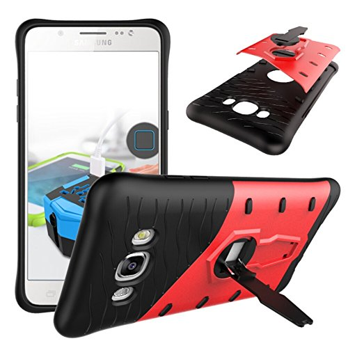 YHUISEN Galaxy J7 2016 Case, Hybrid Tough Rugged Dual Layer Rüstung Schild Schützende Shockproof mit 360 Grad Einstellung Kickstand Case Cover für Samsung Galaxy J7 2016 J710 ( Color : Black ) Red