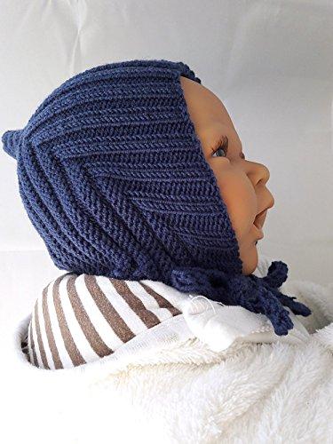 Babymütze, Zwergenmütze, Pixie-Mütze, handgestrickt, Schurwolle (Merino)