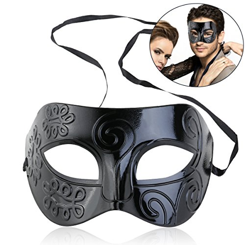Kostüm Party Masquerade Ball - Vosarea Masquerade Ball Party Mask für Männer Frauen Erwachsene Schwarz Venezianische Maske Halloween Kostüm Prom Wedding