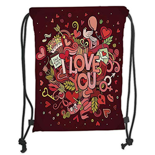 I-dog Chill Set (GONIESA Drawstring Sack Backpacks Bags,Romantic,Retro Funky I Love You Quote on Hearts Arrows Baloons Birhday Image,Coral Burgundy Yellow Soft Satin,5 Liter Capacity,Adjustable String Closure,T)