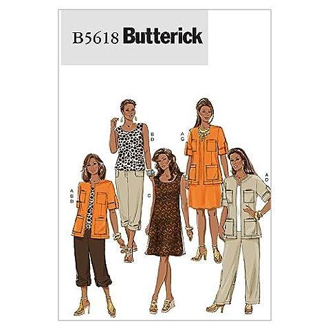 Butterick Patterns B5618 Misses'/Women's Jacket, Top, Dress and Pants, Size