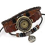 SNHWARE Bracelet Kreis Leder Armband Armband Für Unisex Personalisierte Multi Stränge Einstellbare Armbänder Stammes Geflochtene Seil Perlen Uhr