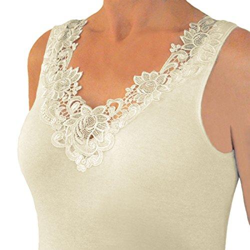 Hübsches Damen Unterhemd mit extra breiter Spitze in versch. Farben (Extra Breite Baumwoll-bh)