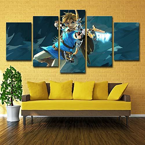Legend of Zelda Breath of The Wild Leinwanddrucke 5 Stück Gaming Malerei Bild Poster Kunstwerke Für Wohnzimmer-Wand-Dekor,Noframe,125X63cm