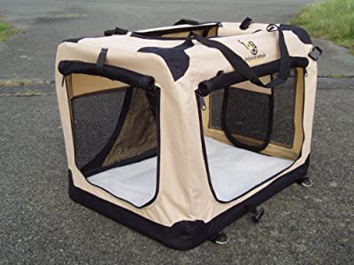 Extra Large Dog Crate Folding Fabric Oxford 600D BEIGE XL 81cm. Vehicle Isofix anchor points for the ultimate in safety. Free Zipped Fleece Liner.