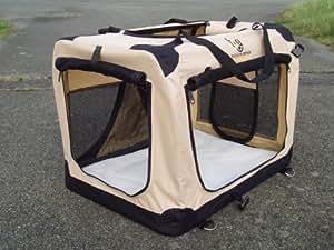 Fold Flat Fabric Cat Dog Carrier/Basket-49cm x 34cm x 35cm Small BEIGE. ISOFIX VEHICLE ANCHOR LOOPS. Fleece Liner.