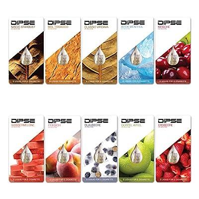 Liquid Probier-Set für jede e Zigarette / eShisha - Frucht und Tabak Sorten zum Testen - Nikotinfrei (0,0mg/ml) von Dipse von DIPSE