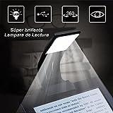 Lampara de Lectura Para Libros OMOUP Lampara Lectura Pinza Libro Clip Luz de Lectura con 4 niveles de brillo de con USB Recargable para eBook Readers
