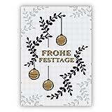 1 Edle Weihnachtskarte mit Umschlag (privat & geschäftlich), Geschenkkarte zu Weihnachten, Grußkarte zum Weihnachtsfest grau gold Optik mit Weihnachtskugeln: Frohe Festtage